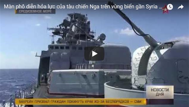Clip: Màn phô diễn hỏa lực của tàu chiến Nga trên vùng biển gần Syria
