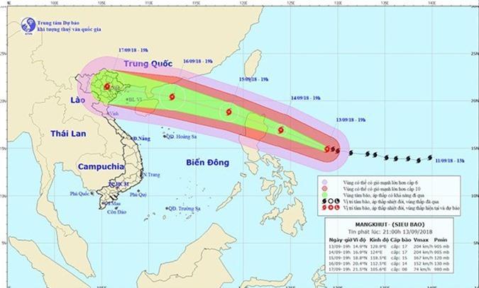Dự báo thời tiết 14/9: 2 kịch bản siêu bão Mangkhut
