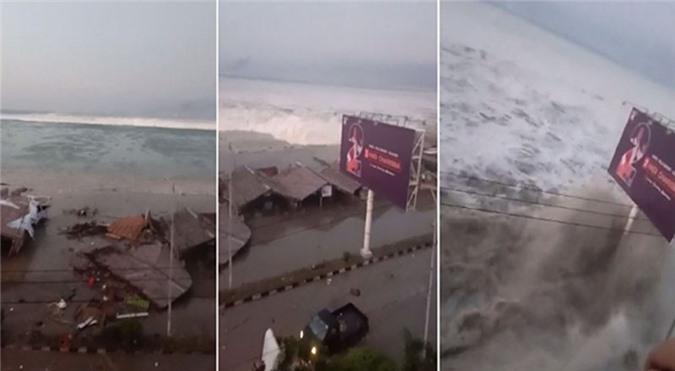 Clip: Hãi hùng với đợt sóng thần cao 2 mét tấn công thành phố 600 ngàn dân ở Indonesia