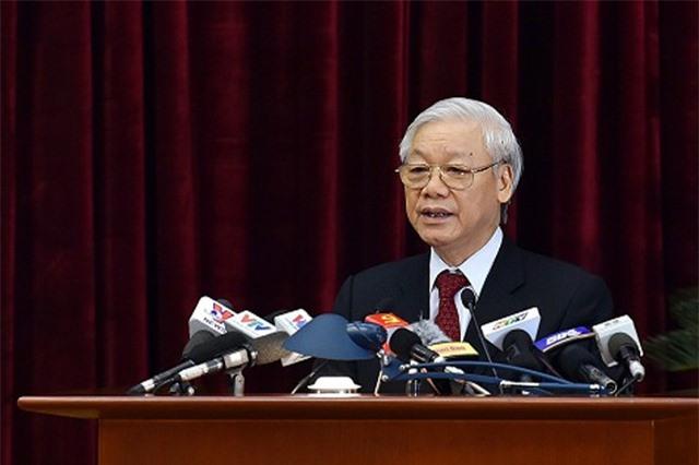 Tổng Bí thư Nguyễn Phú Trọng phát biểu bế mạc Hội nghị (Ảnh: VGP).