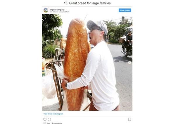 Hình ảnh bánh mì 'khổng lồ' ở An Giang được Bright Side đăng tải.