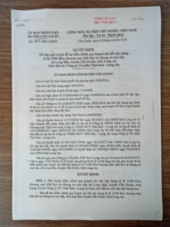 UBND huyện Cần Giuộc (Long An) ra quyết định cho Công ty Cổ phần Thái Sơn - Long An (ảnh TM)