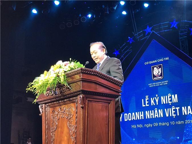 Phó Thủ tướng Trương Hòa Bình phát biểu tại Lễ kỷ niệm Ngày Doanh nhân Việt Nam, do VINASME tổ chức. Ảnh: Ánh Tuyết