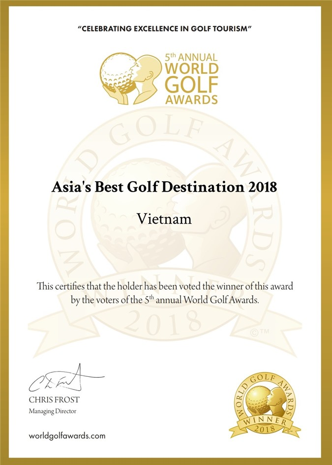 """giải thưởng """"Asia's best golf destination"""" (Điểm đến golf tốt nhất châu Á)."""