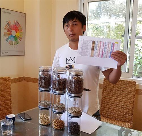 Ông Phương Chính Luận giới thiệu các cách chế biến cà phê của trang trại.