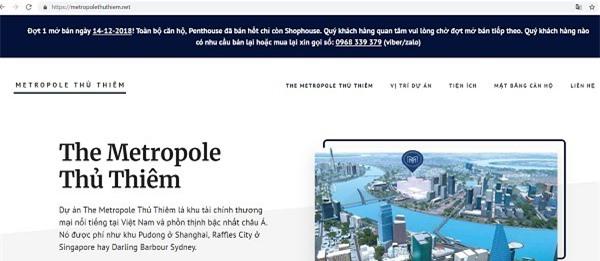 Trên website https://metropolethuthiem.net, toàn bộ căn hộ đã bán hết (Ảnh chụp màn hình)