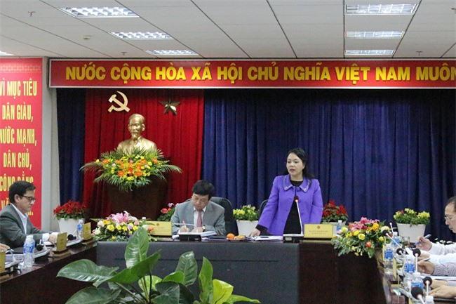 Bộ trưởng Nguyễn Thị Kim Tiến phát biểu ý kiến tại buổi làm việc (Ảnh: VH)