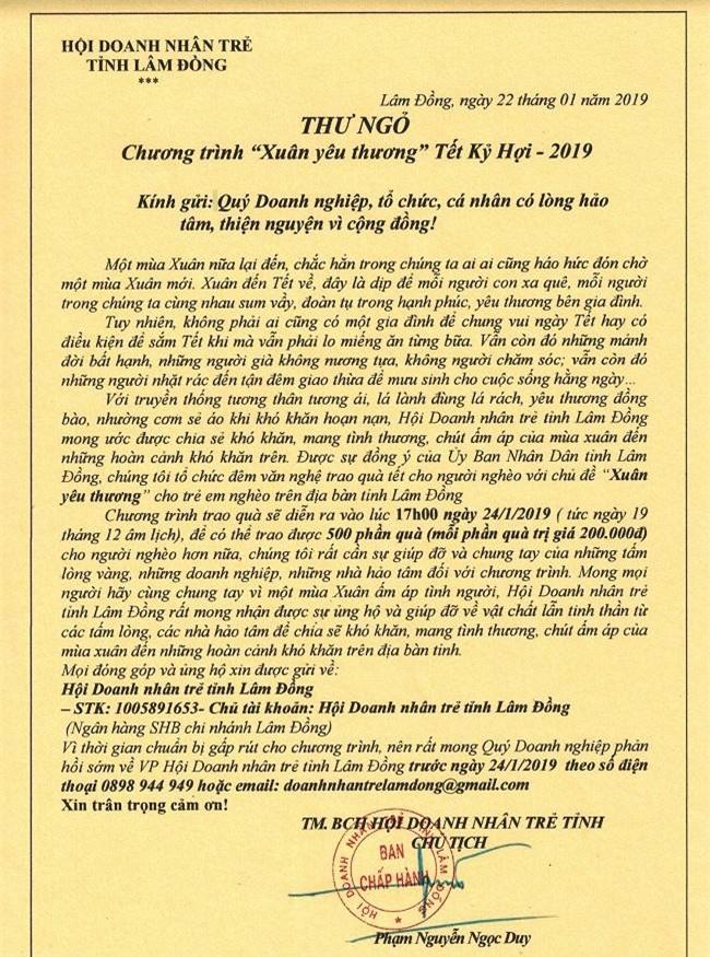 Thư ngỏ của Hội Doanh nhân trẻ Lâm Đồng kêu gọi sự chung tay, giúp sức (Ảnh: VH)