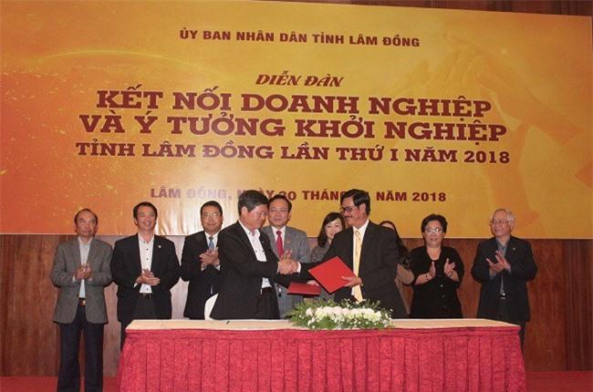 Ông Vũ Văn Tư (bên phải), Giám đốc trung tâm Hỗ trợ khởi nghiệp (Hiệp hội Doanh nghiệp Lâm Đồng) ký kết hỗ trợ khởi nghiệp (Ảnh: VH)