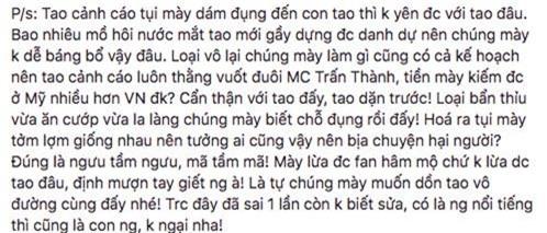 'Sốc' khi Vy Oanh tiếp tục đăng đàn cảnh cáo Trấn Thành, gọi nam MC là 'thằng'