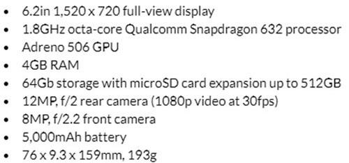 Thông số kỹ thuật của Motorola Moto G7 Power.