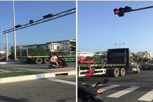 Hình ảnh loạt xe đầu kéo vượt đèn đỏ trên đường phố Đà Nẵng sáng mùng 1 Tết trên mạng xã hội.