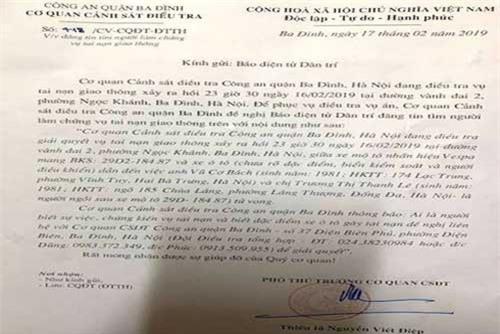 Hà Nội: Công an đề nghị người dân cùng truy tìm ôtô đâm 2 người chết rồi bỏ chạy
