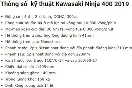 Thông số kỹ thuật của Kawasaki Ninja 400 2019.