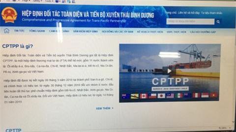 Giao diện Chuyên trang Thông tin điện tử về CPTPP. Ảnh: T.U
