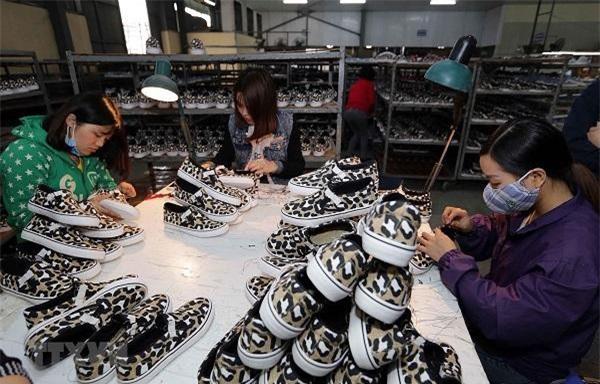 Sản xuất giầy xuất khẩu. (Ảnh: Trần Việt/TTXVN)