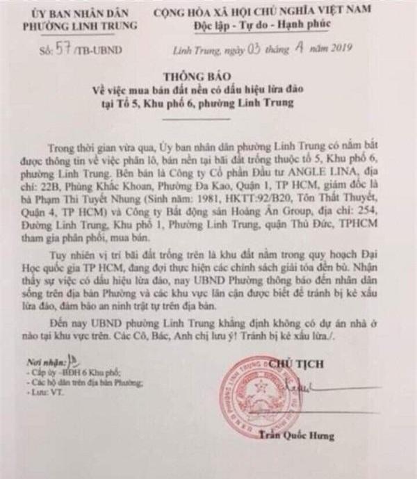 Văn bản UBND phường Linh Trung cảnh báo người dân về việc mua đất nền (Ảnh: MH)