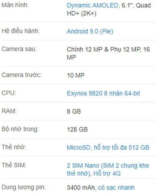 Thông số kỹ thuật của Samsung Galaxy S10.