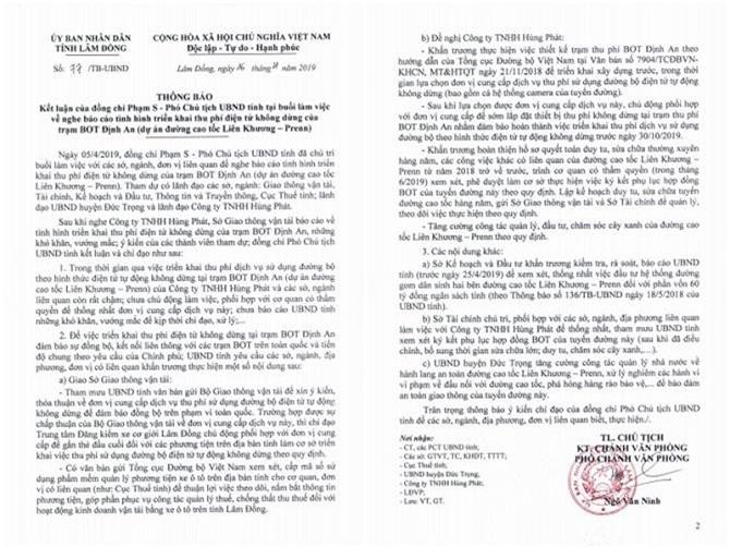 UBND tỉnh Lâm Đồng yêu cầu BOT Định An phải thu phí tự động không dừng trước ngày 30/10/2019 (Ảnh: VH)
