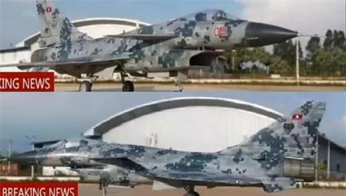 Tiêm kích J-10 với màu sơn họa tiết kỹ thuật số cùng quốc kỳ Lào trên cánh đuôi đứng