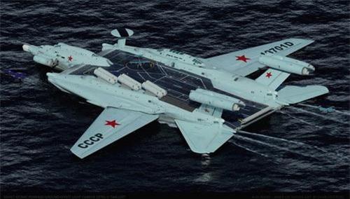 Đồ họa tàu sân bay hạt nhân dạng Ekranoplan mang tên Smelost