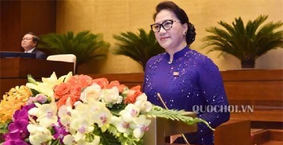 Chủ tịch Quốc hội Nguyễn Thị Kim Ngân phát biểu khai mạc tại Kỳ họp thứ 7, Quốc hội khóa XIV sáng 20/5. (Ảnh: VPQH)