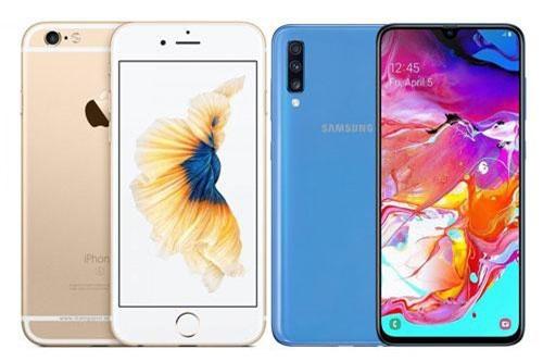 iPhone 6s Plus và Samsung Galaxy A70 (phải).