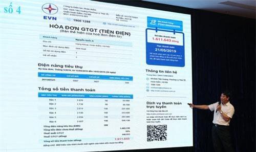 Đại diện EVN giới thiệu một trong những mẫu hóa đơn tiền điện mới. Ảnh: VGP.