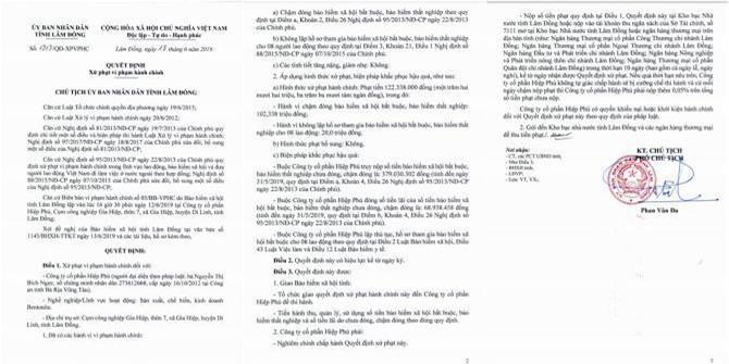 Quyết định xử phạt của UBND tỉnh Lâm Đồng (Ảnh: VH)