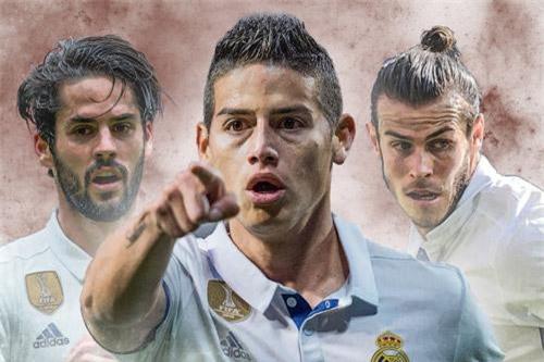 Isco, James Rodriguez và Bale (từ trái sang).