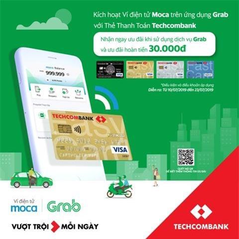 Moca trên ứng dụng Grab chính thức liên kết Techcombank