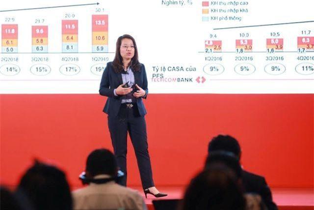 Bà Lê Thị Bích Phượng - Giám đốc Khối Dịch vụ ngân hàng và Tài chính cá nhân tự tin với sự tăng trưởng của phân khúc cá nhân của Techcombank