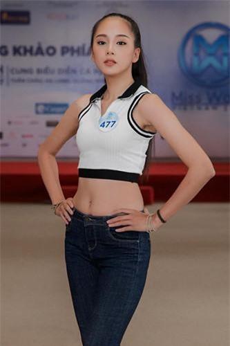 Nguyễn Thị Bích Thùy (SBD 477) sinh năm 2001, là học sinh lớp 12 trường THPT Buôn Mê Thuột, Đắk Lắk. Ảnh: Miss World Vietnam, Facebook nhân vật.
