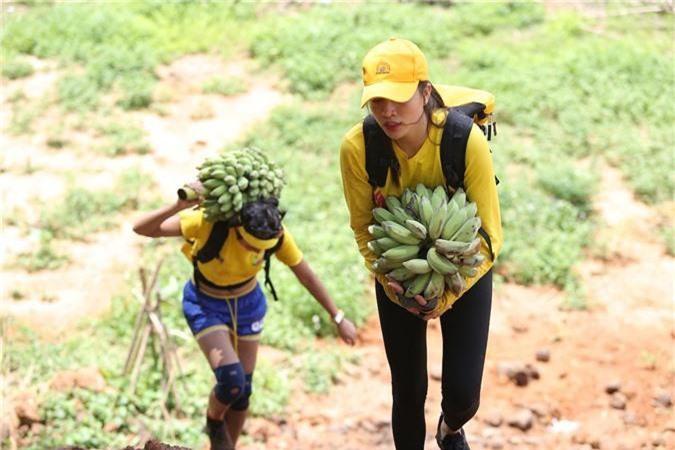 Đội Vàng Hhen Nie và Lệ Hằng đang vác chuối lên lên dốc