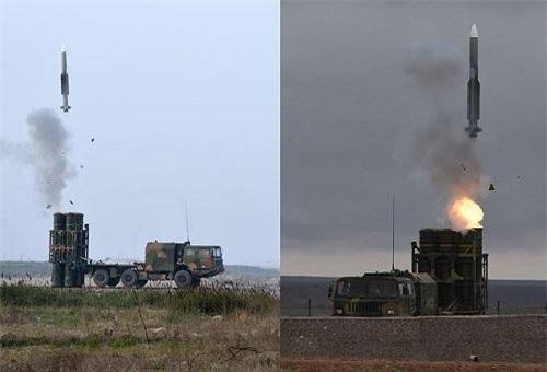 Đạn tên lửa HQ-16B (trái) rất dễ nhận thấy phần đuôi tên lửa đã được kéo dài để nâng tầm bắn. Ảnh: China Defence.