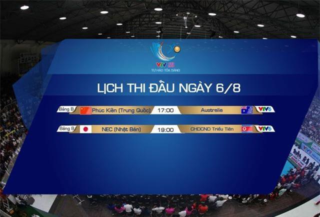 Lịch thi đấu và trực tiếp VTV Cup Tôn Hoa Sen 2019 ngày 6/8