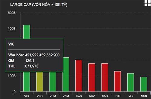 Quy mô vốn hoá của VIC đã vượt xa phần còn lại của thị trường.