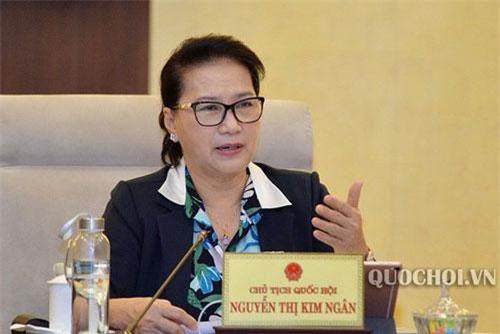 Chủ tịch Quốc hội Nguyễn Thị Kim Ngân phát biểu tại phiên thảo luận. Ảnh: Quốc hội.