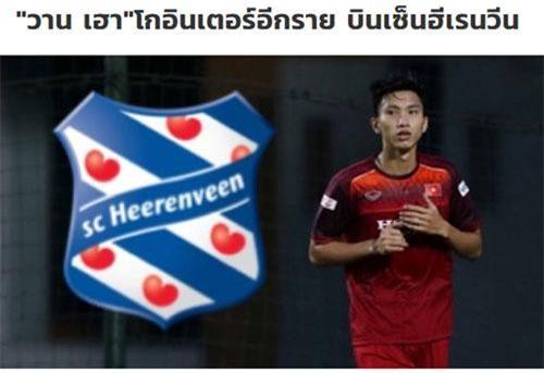 Tờ Siam Sport đưa tin về việc Văn Hậu sang Hà Lan thi đấu.