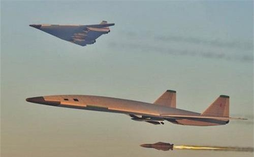 Hình ảnh đồ họa khác về ý tưởng PAK DA có cấu hình máy bay ném bom siêu âm. Ảnh: TASS.