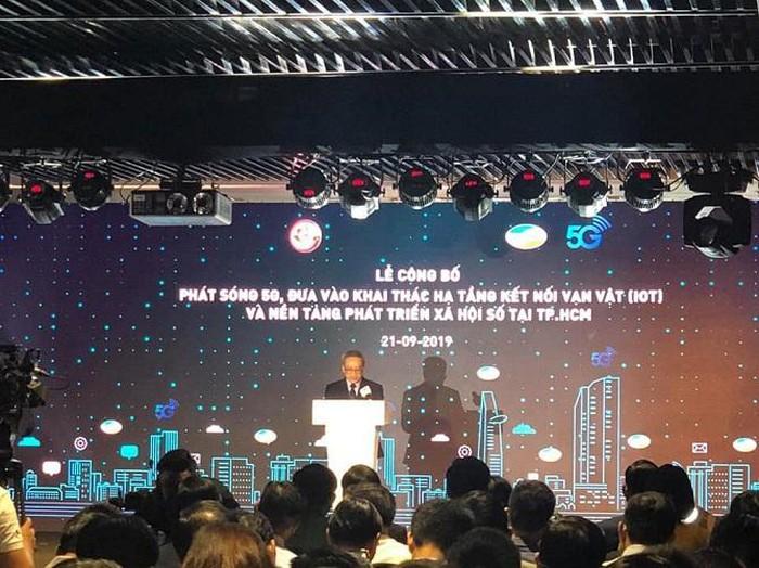 Thứ trưởng Bộ Thông tin và Truyền thông Phan Tâm phát biểu tại lễ công bố phát sóng 5G của Viettel vào sáng 21/9/2019 tại TP.HCM.
