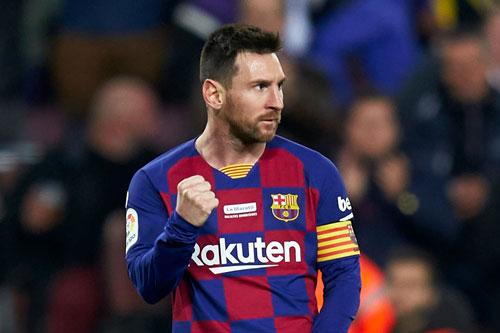 Messi lập hat-trick vào lưới Mallorca. Ảnh: Getty.