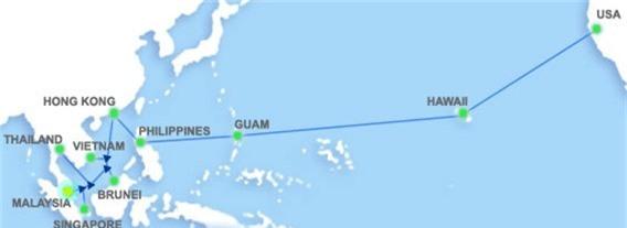 Sơ đồ kết nối tuyến cáp quang AAG ngầm bên dưới Thái Bình Dương, nối Đông Nam Á sang Mỹ