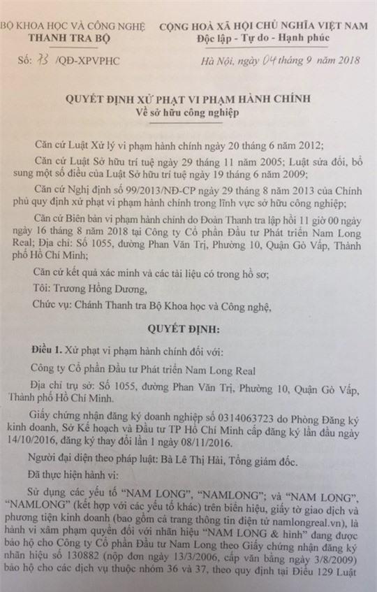 Quyết định xử phạt vi phạm hành chính đối với Nam Long Real vì xâm hại quyền đối với nhãn hiệu được bảo hộ.