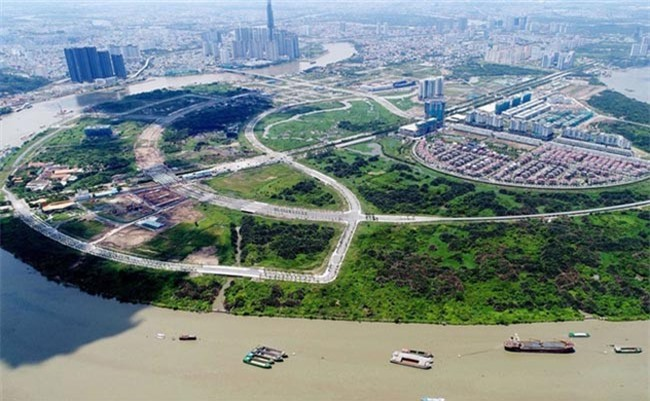 """Dự án Khu nhà ở chung cư tại lô 3-15 và 3-16 (The Riverin) nằm trong Khu đô thị mới Thủ Thiêm, phường An Khánh, Quận 2 (TP.HCM) do """"con"""" của Công ty CP Đầu tư hạ tầng kỹ thuật TP.HCM (CII) làm chủ đầu tư (ảnh TL)"""