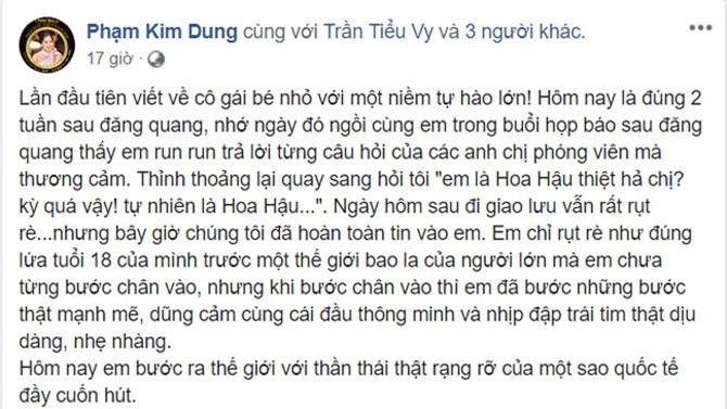 Chia sẻ trên trang cá nhân của bà Kim Dung. Ảnh chụp màn hình.