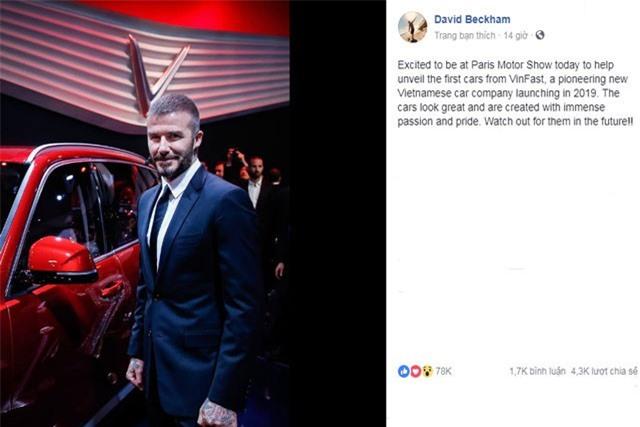 Beckham nhận xét về 2 mẫu xe của VinFast.