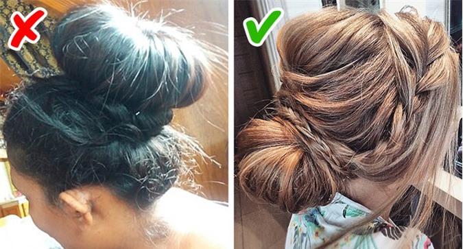 Nếu thích tóc búi, bạn đường thử kiểu búi tóc cao như chiếc bánh donut to sụ trên đầu. Thay vào đó, bạn nên búi tóc thấp,