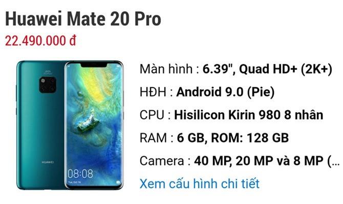 Giá bán Huawei Mate 20 Pro.