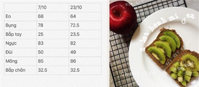 Sau 16 ngày áp dụng chế độ ăn eatclean, Trang Ngô giảm được 4 cm vòng eo và 5,5 cm vòng bụng.